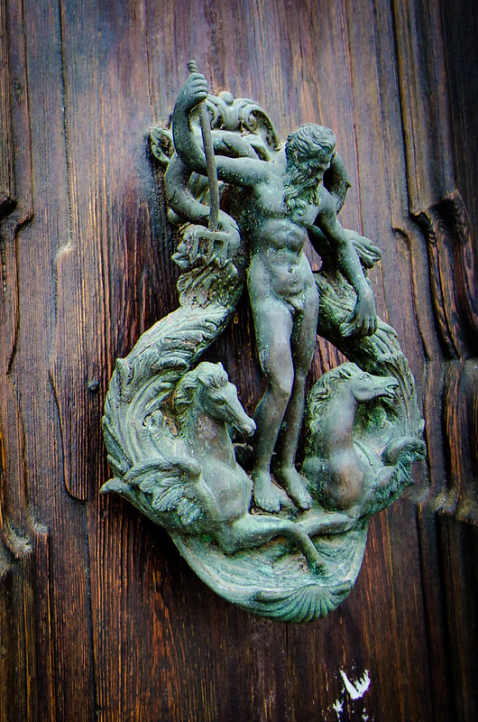 An elaborate sea themed door knocker in Venice.