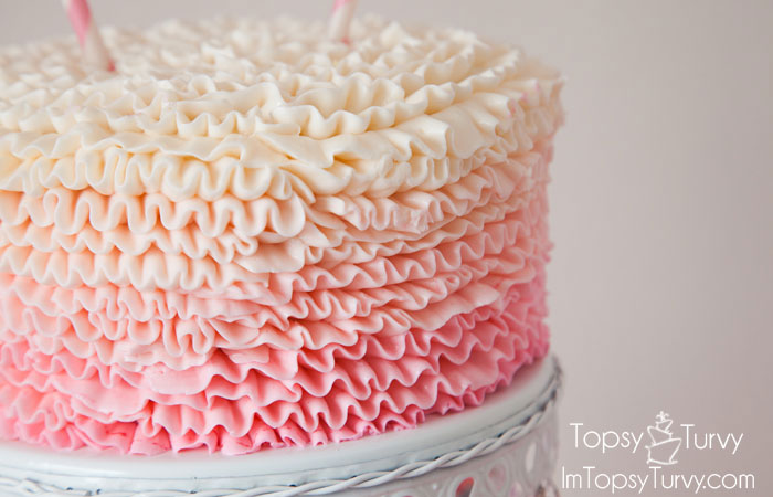 Ombre Ruffled Buttercream Cake Ashlee Marie real fun with real food