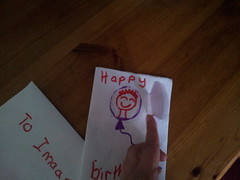 imaan birthday card lovingly made by rahil