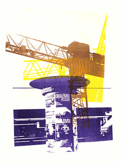 - Billboard & construction cranes in the city Amsterdam nr. 1. - giclee fine art print, edited from my original monotype - in high resolution image; printed by graphic artist Hilly van Eerten, The Netherlands - graphic collage in print art
