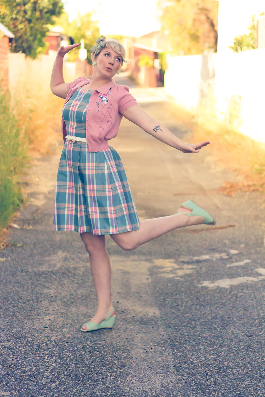 Liana of Finding Femme wears Review Australia pastel tartan dress, Alannah Hill headband, Princess Highway pink embroidered bird cardigan and Modcloth shoes and earrings.