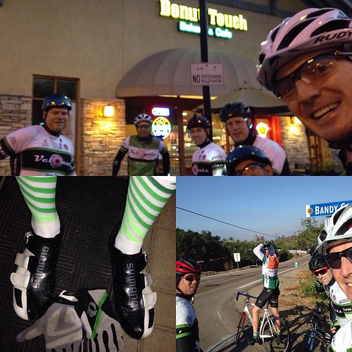 VeloNutz Saturday ride. Black white and green   @champsys kit @pearlizumiofficial gloves @hbstache socks. Started at @donuttouchbakerycafe before circling lake Hodges and on up to Bandy Canyon. #sandiego #summer #bikelife #velonutz #socalcyclistpodcast