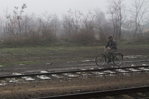Riding beside the railway tracks in Hungary