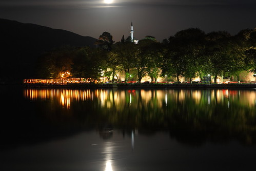 city longexposure light sky cloud moon mountain lake motion reflection tree travelling castle cars water colors horizontal night dark landscape outdoors island cafe movement scenery nopeople mosque greece mirrored moonlight lakefront taillight ioannina epirus pamvotis pixopolitan