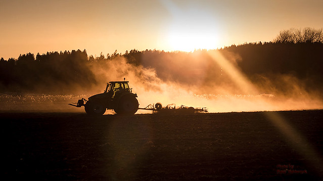 Spring tillage at sunset