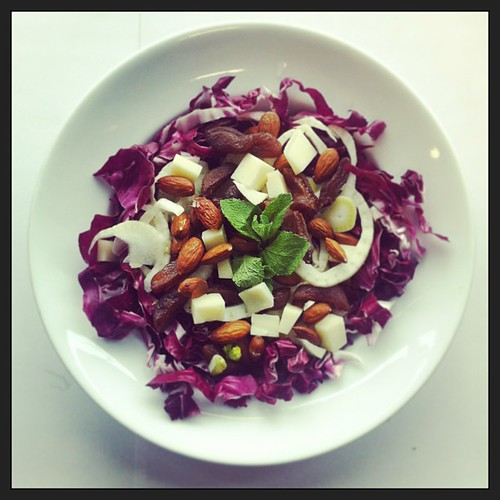 Radicchio, dried apricots, fennel, manchego cheese, mint, almonds, salad, vegetarian by Salad Pride