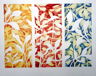 Negative painting, leaves, by Catie