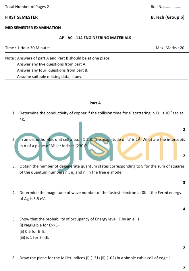 DTU Question Papers 2010 – 1 Semester - Mid Sem - AP-AC-114