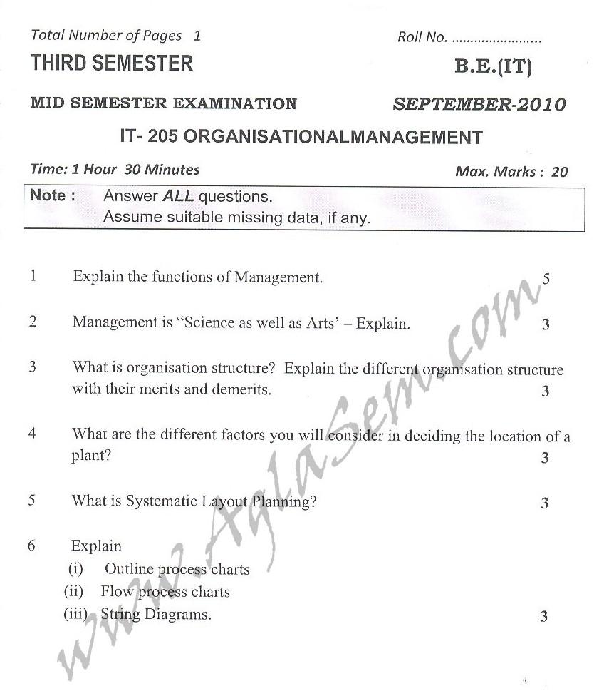 DTU Question Papers 2010 – 3 Semester - Mid Sem - IT-205