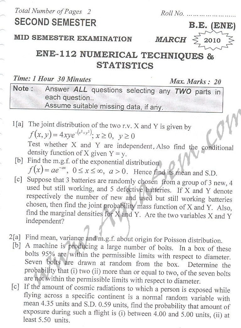 DTU Question Papers 2010 – 2 Semester - Mid Sem - ENE-112