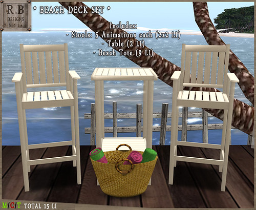 RnB Beach Deck Set - 2x5 Poses - White2