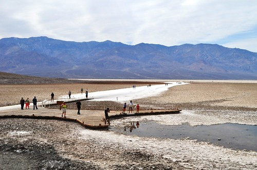 Visitors at Badwater Basin, Death Valley National Park, Calif.