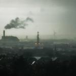 smoky haze over industrial area