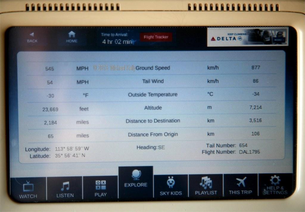 Flight tracker onboard Delta flight 1795 Las Vegas to New York JFK