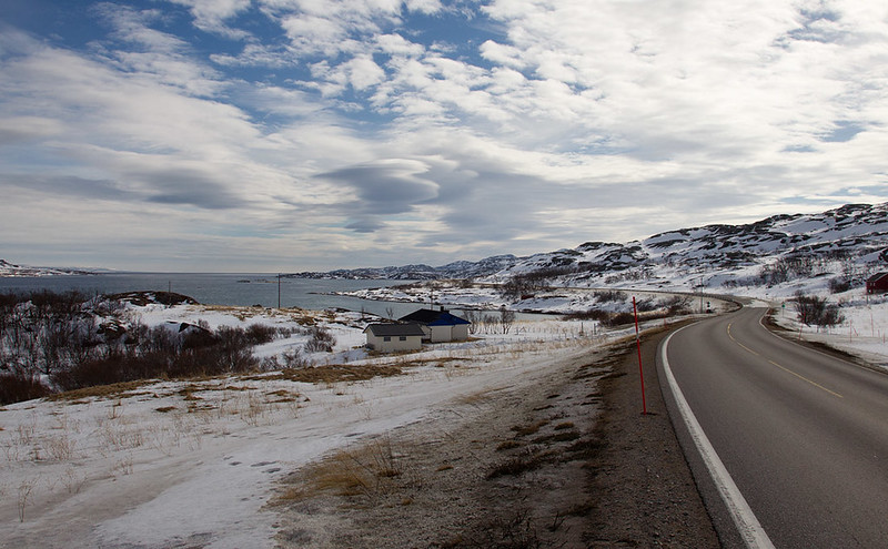 A road with a view of the Varanger fjord