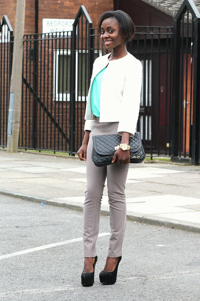 tweed blazer, tweed jacket, white tweed jacket, white tweed blazer, pastel top, mint top, mint coloured top
