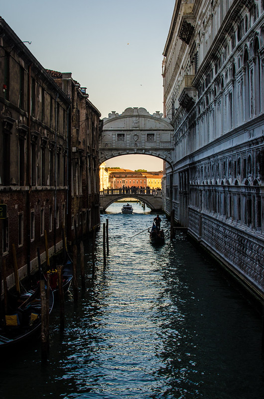 The Bridge of Sighs at the Doge's Palace in Venice, Italy.