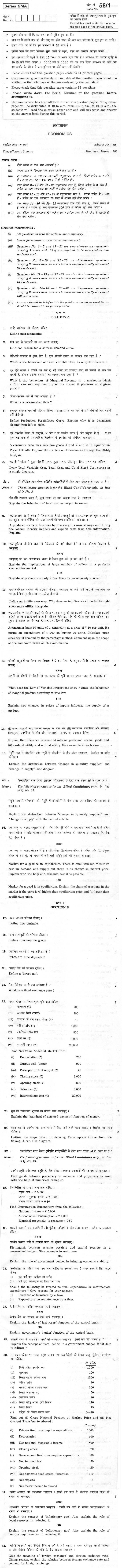 CBSE Class XII Previous Year Question Paper 2012 Economics