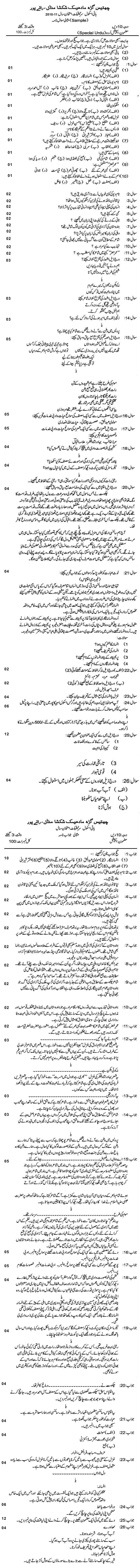 Chattisgarh Board Class 10 Urdu Special Sample Paper