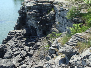 Small cave entrance in Wainfleet Quarry May 20, 2013