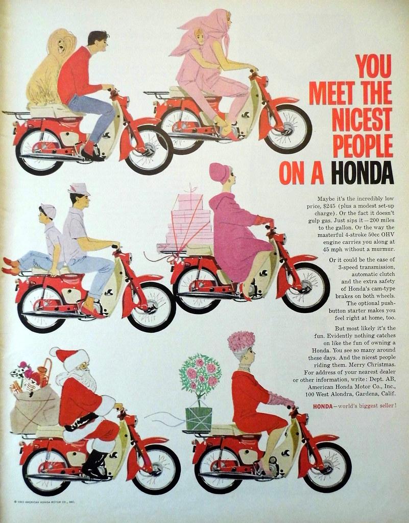 Vintage Motorcycle Advertising: 1963 Honda Ad, Look Magazi ...