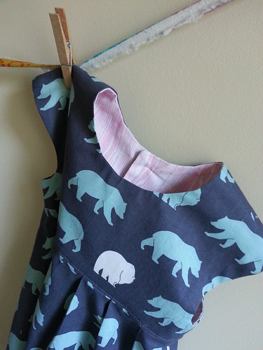 Geranium dress - bears with pink woodgrain lining