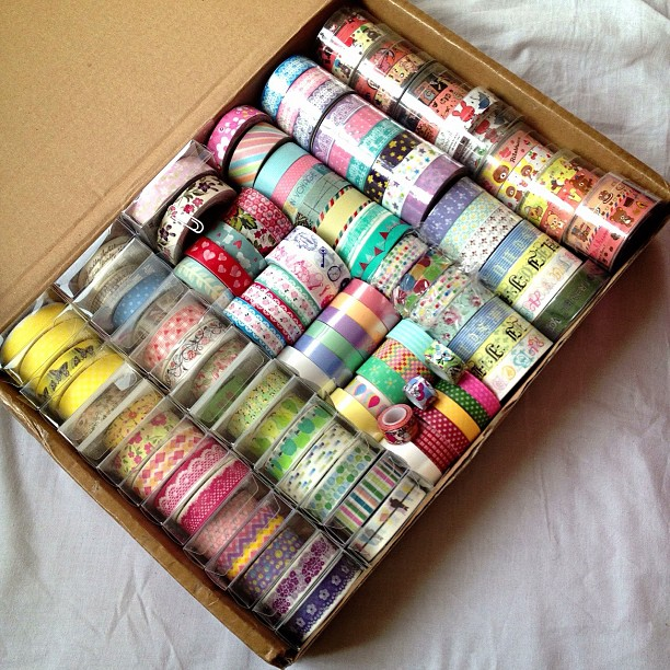 Sorted out all my tapes also I decided to store all my tapes in the yozocraft order box I received as they fit. These are my small #washitape #decotape #papertape and #fabrictapes that I own. I'll tape photos of the rest later for @lovelymailz2u who wante