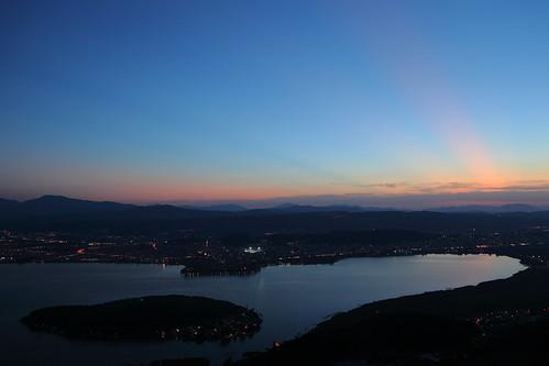 city pink blue light sky lake mountains color travelling clouds landscape outdoors island lights high scenery view streak dusk stadium nopeople greece ioannina epirus pamvotis