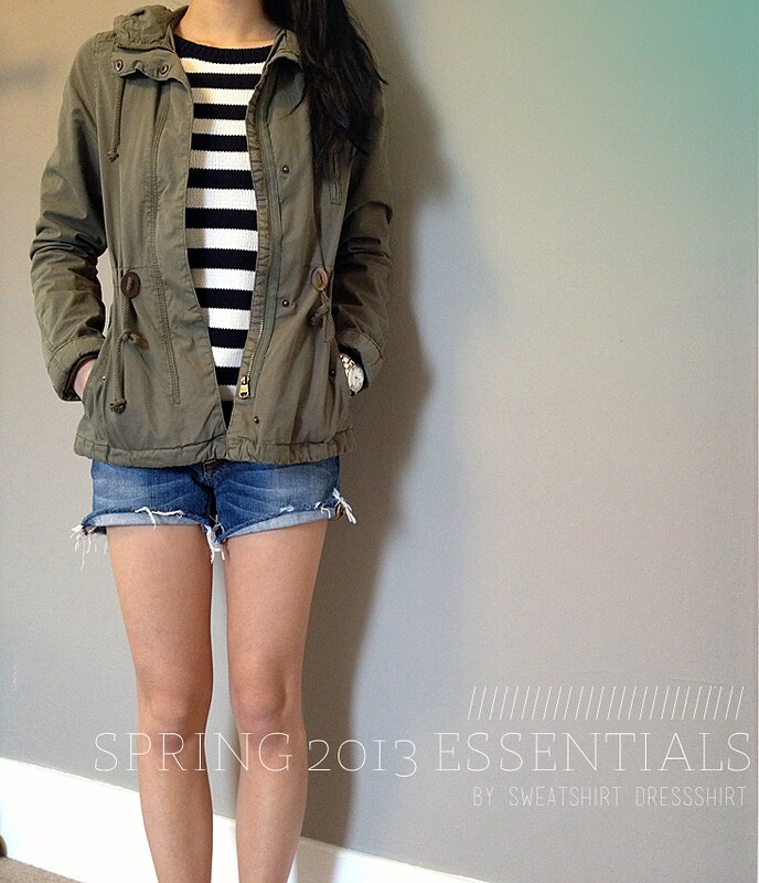 green jacket, h&m, green military jacket, striped sweater, banana republic sweater, jean shorts, spring outfit ideas, cute outfit ideas, striped top, navy striped top, green anorak