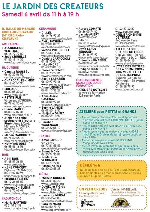 Programme Jardin des Créateurs 2013 - Montreuil