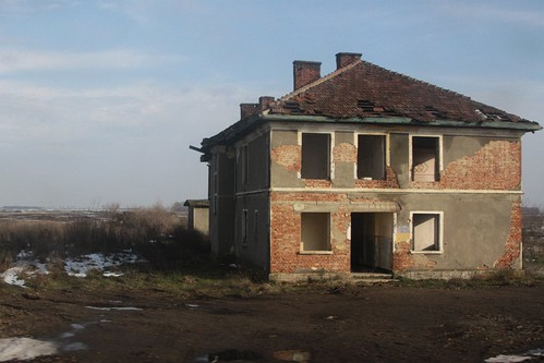Abandoned building beside the railway in western Romania