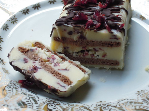 """Kalter Hund"" with white chocolate and cranberries"
