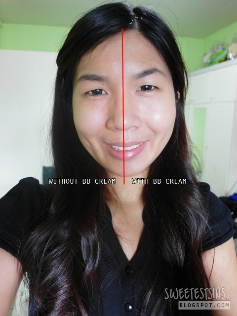 singapore beauty blog sweetestsins by singapore beauty blogger patricia tee kiehls actively correcting & beautifying bb cream half face with bb cream and without comparison