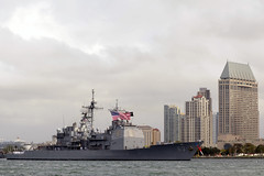 In this file photo, USS Cowpens (CG 63) arrives in San Diego in April following more than a decade forward-deployed to 7th Fleet. (U.S. Navy photo by Mass Communication Specialist 2nd Class Rosalie Garcia)