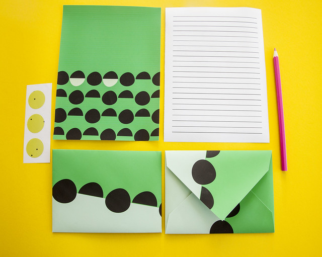 green stationery set