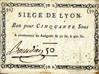 209 - Siege de Lyon banknote 1793