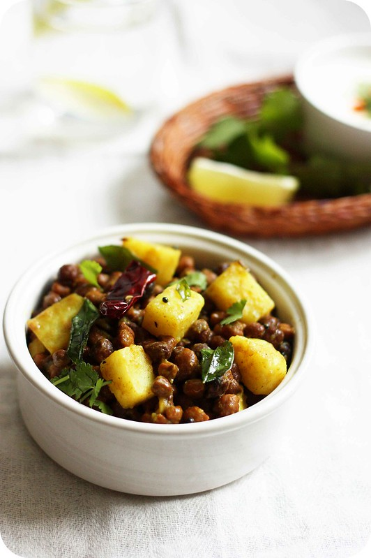 Indian Potato and Black Chickpeas Salad with hot and sour tamarind ...