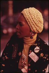 Black Woman At The Operation Push Expo Annual Convention. A Special Talkathon Was Set Up By A Local Black Radio Station In Chicago, 07/1973