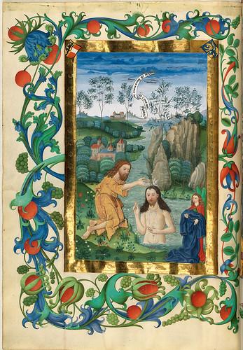 010- El bautismo de Jesus-Misal de Salzburgo-1499-Tomo 3-Biblioteca Estatal de Baviera (BSB)