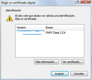 Selección de certificado digital