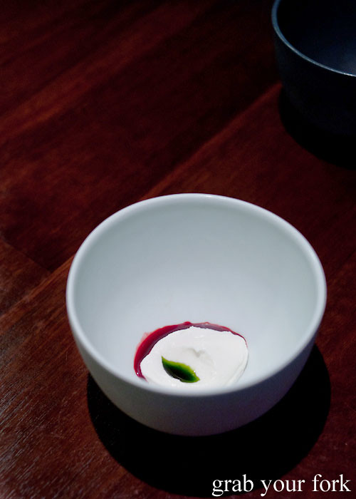 goat curd and blackcurrant at momofuku seiobo the star sydney