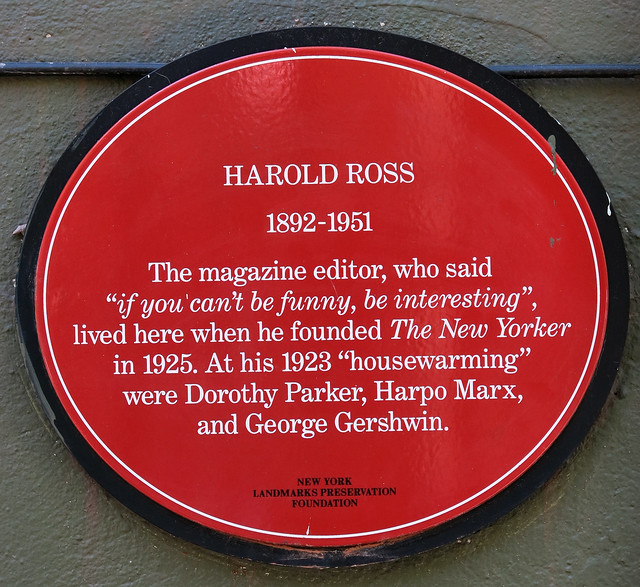 Photo of Harold Ross, Dorothy Parker, Harpo Marx, and George Gershwin red plaque