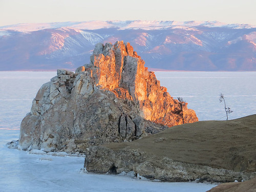 mountain ice sunrise rocks russia lakebaikal