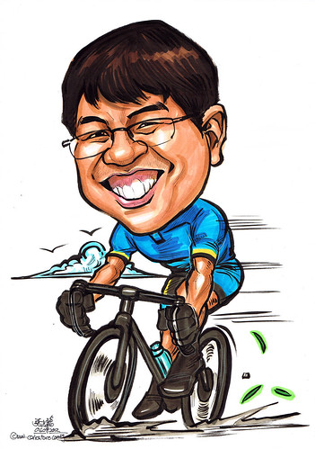cyclist caricature
