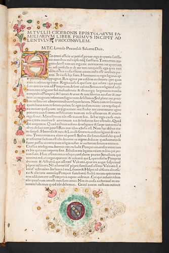 Illuminated decoration and coat of arms in Cicero, Marcus Tullius: Epistolae ad familiares