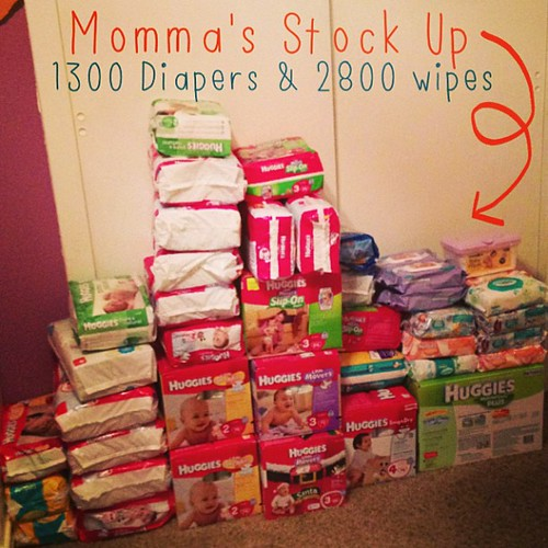 Do you think we have enough for Baby Boys first year? #diapers #wipes #babyboy #ilooklikeahorder #extremecouponclipper