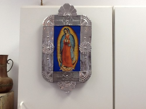 Virgin de Guadalupe, recycled tin can frame