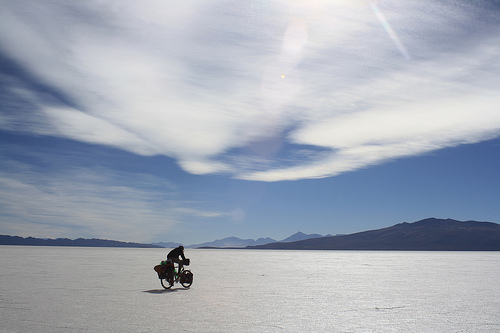 Cycling on the Salar de Coipasa, Bolivia.