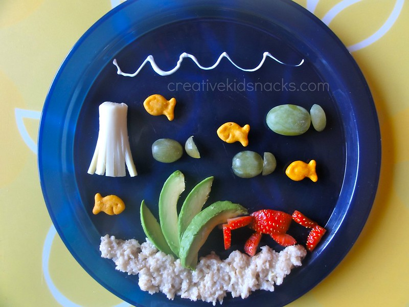 """Under the Sea"" kids snack with avocados, oatmeal, strawberries, and cheese.  So fun! 