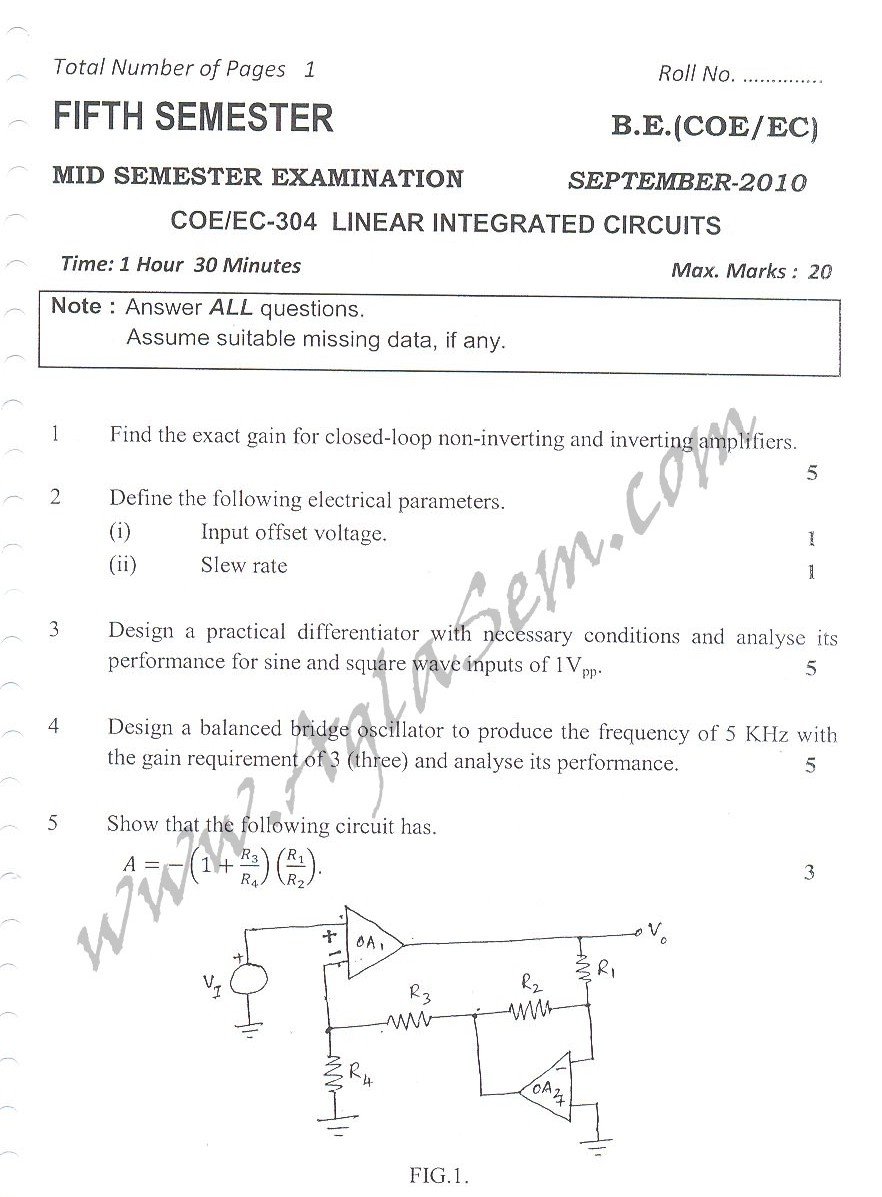 DTU Question Papers 2010 – 5 Semester - Mid Sem - COE-EC-304